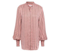 Checked Washed Silk-blend Shirt Baby Pink