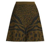 Glittered leopard-print jacquard-knit mini skirt