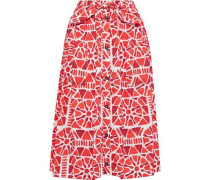 Knotted Pleated Printed Cotton Midi Skirt Red
