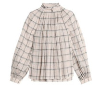 Beebe pleated checked cotton-gauze blouse