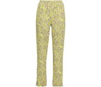 Jody Floral-print Stretch-jersey Straight-leg Pants Chartreuse