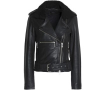 Faux shearling-trimmed leather biker jacket