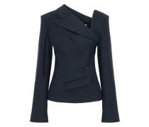 Woman Asymmetric Wool-blend Twill Blazer Navy