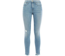 Cropped Faded Mid-rise Skinny Jeans Light Denim  5