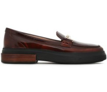 Embellished Glossed-leather Loafers Merlot