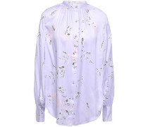 Woman Causette Floral-print Washed Silk-blend Satin Blouse Lavender
