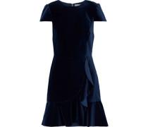 Enid Ruffle-trimmed Velvet Mini Dress Navy