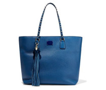 Tasseled Studded Textured-leather Tote Blue Size --