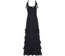 Tiered polka-dot silk-chiffon gown