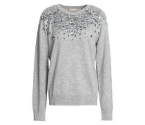 Crystal-embellished mélange cashmere sweater