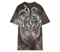 Distressed printed cotton T-shirt