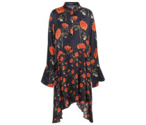 April Asymmetric Floral-print Satin Mini Shirt Dress Midnight Blue
