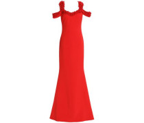 Cold-shoulder Embellished Crepe Gown Red