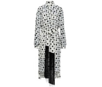 Rife Tie-front Pleated Polka-dot Chiffon Midi Dress White Size 0