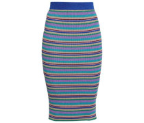 Metallic Ribbed-knit Pencil Skirt Multicolor