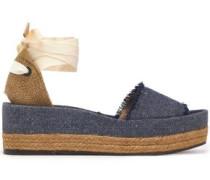 Estela woven canvas and frayed denim platform sandals