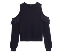 Cold-shoulder ruffled silk-trimmed cotton-jersey top