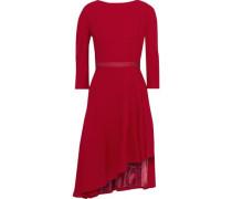 Woman Asymmetric Grosgrain-trimmed Wool-crepe Dress Crimson