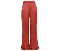 Woman Florinda Printed Silk-satin Straight-leg Pants Tomato Red