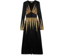 Suzanne Embellished Satin Midi Dress Black