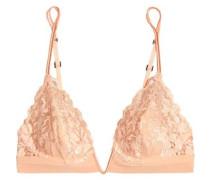Stretch-silk and lace underwired triangle bra