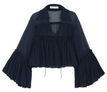 Gathered Silk-mousseline Blouse Navy