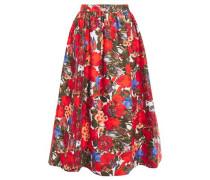 Woman Gathered Floral-print Cotton-gabardine Midi Skirt Red
