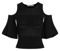 Cold-shoulder cropped pointelle-knit top