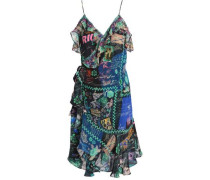Under My Wrap ruffled embellished printed silk mini wrap dress
