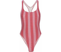 The Robin Cutout Striped Swimsuit Red