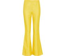 Shantung Flared Pants Yellow