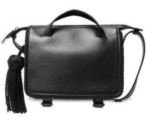 Tasseled Leather Shoulder Bag Black Size --