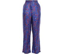 Floral-print Silk Crepe De Chine Straight-leg Pants Cobalt Blue