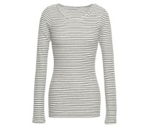 Striped Ribbed-knit Top Light Gray