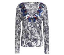 Sequin-embellished distressed metallic jacquard-knit sweater