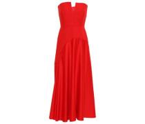 Paneled Satin And Crepe Midi Dress Red