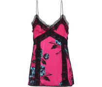 Lace-trimmed Floral-print Satin Camisole Pink