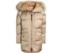 Shearling-trimmed Quilted Shell Down Hooded Jacket Beige