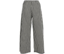 Frayed Cotton-blend Wide-leg Pants Black