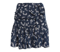 Bow-embellished Floral-print Silk Mini Skirt Navy