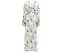 Ruffled Printed Crinkled-georgette Maxi Dress Light Gray