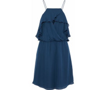 Sunbird Wrap-effect Ruffled Chiffon Mini Dress Cobalt Blue Size 0