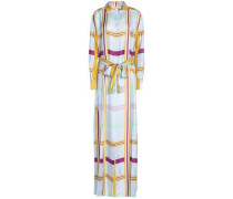 Checked Silk Maxi Dress Light Blue Size 0