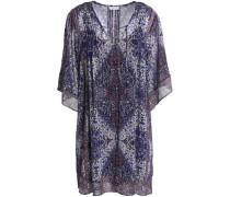 Hadiya lace-up printed silk-voile mini dress