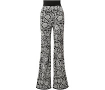 Jacquard-knit Flared Pants Black