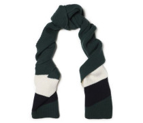 Eileen Striped Ribbed Wool Scarf Dark Green Size --