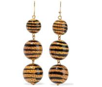Gold-tone Beaded Earrings Camel Size --
