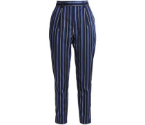 Cropped Striped Woven Straight-leg Pants Midnight Blue