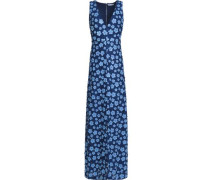 Floral-appliqued guipure lace maxi dress