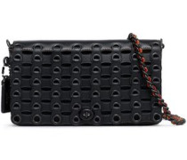 Eyelet-embellished leather shoulder bag